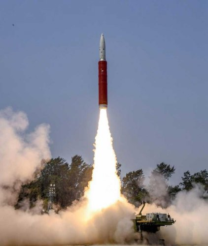 Ballistic Missile Defence (BMD) Interceptor missile being launched by Defence Research and Development Organisation (DRDO) in an Anti-Satellite (A-SAT) missile test 'Mission Shakti' engaging an Indian orbiting target satellite in Low Earth Orbit (LEO) in a 'Hit to Kill' mode from Abdul Kalam Island, Odisha, Wednesday, March 27, 2019. With this India joins a select group of four nations, which have such capability. (PTI Photo)
