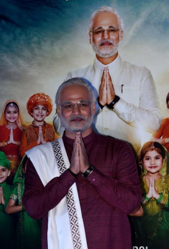 """Indian Bollywood actor Vivek Oberoi, characterised as Prime Minister Narendra Modi, gestures during the trailer launch for the upcoming biopic film """"PM Narendra Modi"""", in Mumbai on March 20, 2019. AFP File photo"""