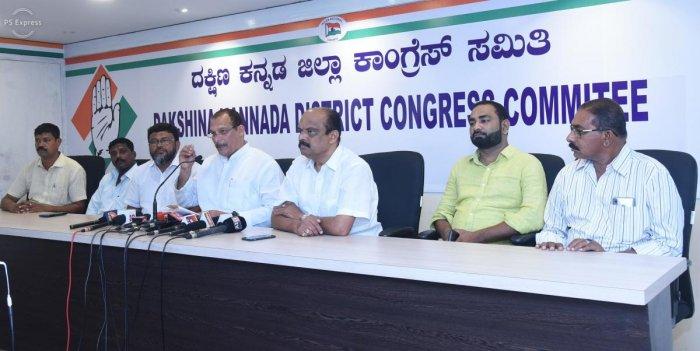MLC Ivan D'Souza addresses a press meet in Mangaluru on Tuesday.