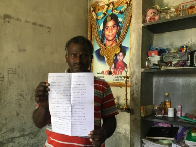 """""""I lost my daughter because of the apathy of state and central governments,"""" T Shanmugam tells DH, looking at the portrait of his youngest child that adorn the walls of the concrete structure."""