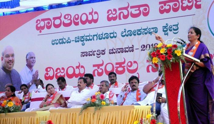 Union Defence Minister Nirmala Sitharaman speaks at the Vijaya Sankalap Yatra rally in Udupi on Tuesday.