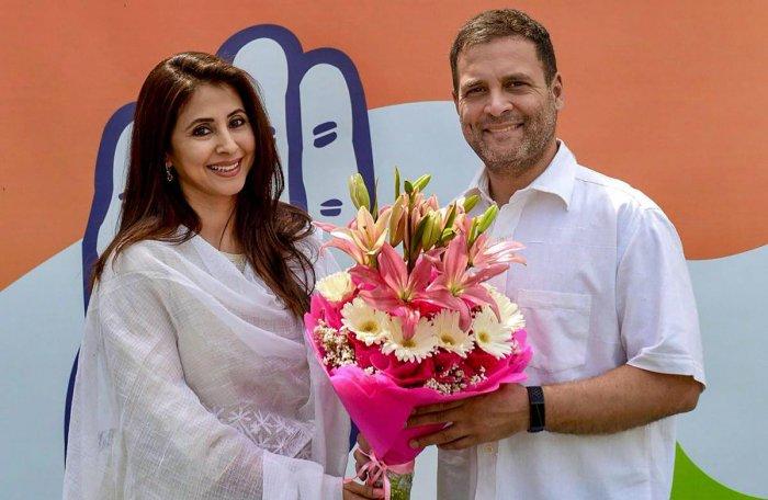 Congress President Rahul Gandhi greets Bollywood actor Urmila Matondkar as she joins Congress Party, in New Delhi on Wednesday. PTI photo