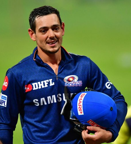 Mumbai Indians' wicketkeeper-batsman Quinton de Kock during a practice session on Wednesday. DH PHOTO