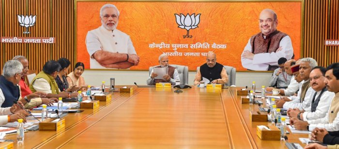 Prime Minister Narendra Modi, BJP President Amit Shah and other leaders during the party's Central Election Committee meeting for the forthcoming Assembly polls, at party headquarters in New Delhi, Sunday, Nov 11, 2018. (PTI Photo)