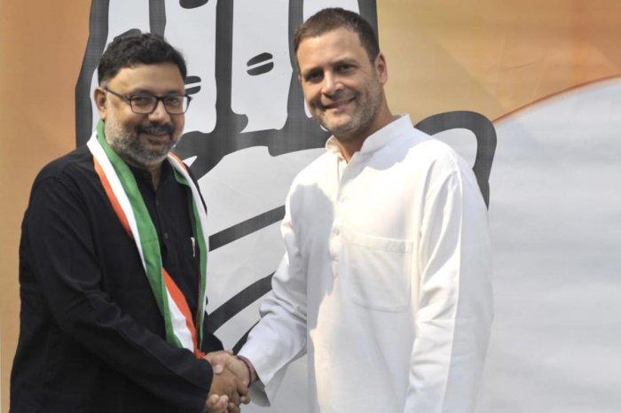 Veteran journalist and now a Congress candidate, Ruchir Garg, meets Congress president Rahul Gandhi.