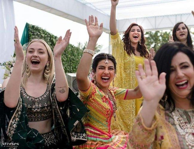 Bollywood actress Priyanka Chopra (C) during her wedding celebration along with friends and relatives at Umaid Bhawan palace in Jodhpur. AFP file photo