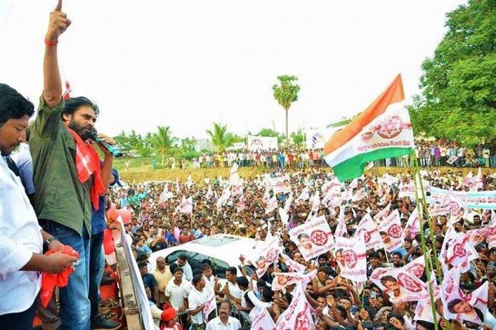 Janasena chief Pawan Kalyan in Uddanam. DH File Photo