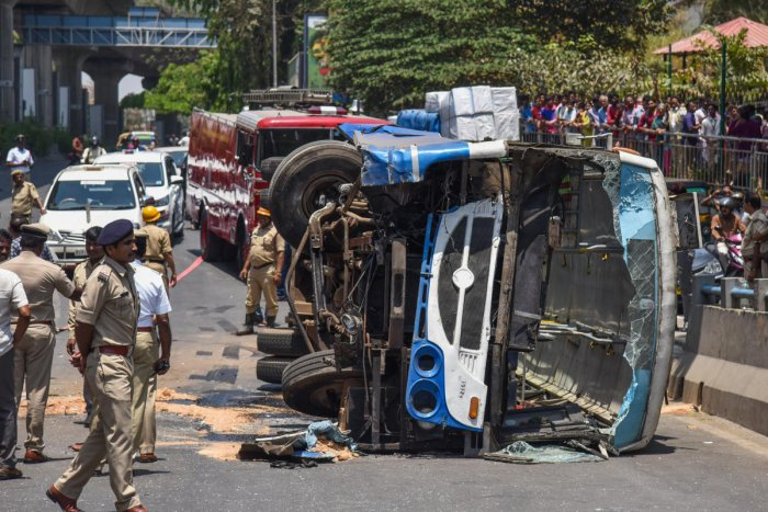 The BMTC bus which turned turtle on the up ramp of the Chord Road flyover on Wednesday. DH PHOTO/S K DINESH