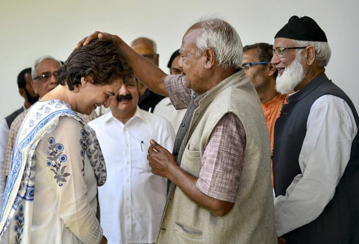 Congress General Secretary Priyanka Gandhi Vadra meets various delegations and groups at a guest house, in Raebareli, Thursday, March 28, 2019. (PTI Photo)