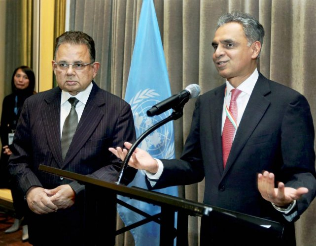 New York: India's Permanent Representative to the United Nations Syed Akbaruddin speaks during a reception in the honour of Justice Dalveer Bhandari (L) at the United Nations in New York on Monday. India's Dalveer Bhandari won the votes in the UN General