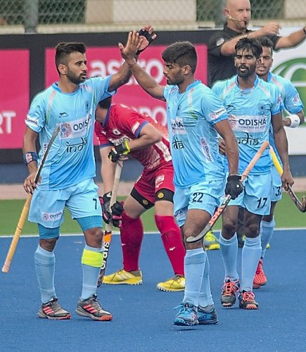 Varun Kumar (right) struck a brace as India trounced Poland 10-0 in the Sultan Azlan Shah Cup on Friday. PTI FILE PHOTO