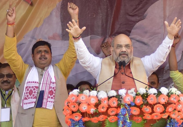 BJP national President Amit Shah addressing during an election rally ahead of Lok Sabha elections 2019, at Koliabor in Nagaon District of Assam on Thursday, 28 March 2019. PHOTO: MANASH DAS
