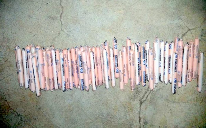 Explosives seized by the police in Kushalnagar.