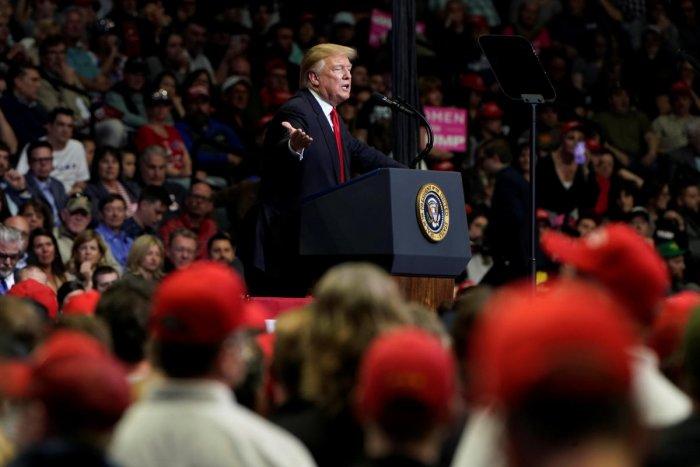 U.S. President Donald Trump speaks at a campaign rally in Grand Rapids, Michigan. Reuters