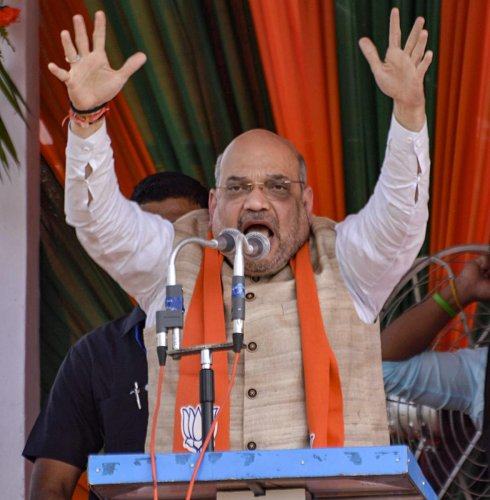 BJP national president Amit Shah during a campaign for Lok Sabha elections, in the Alipurduar district of West Bengal on March 29. PTI