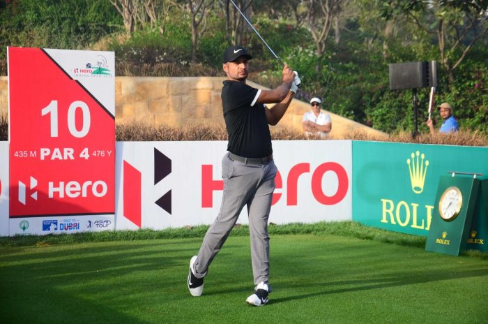 Julian Suri during Indian Open Golf tournament in New Delhi on Friday