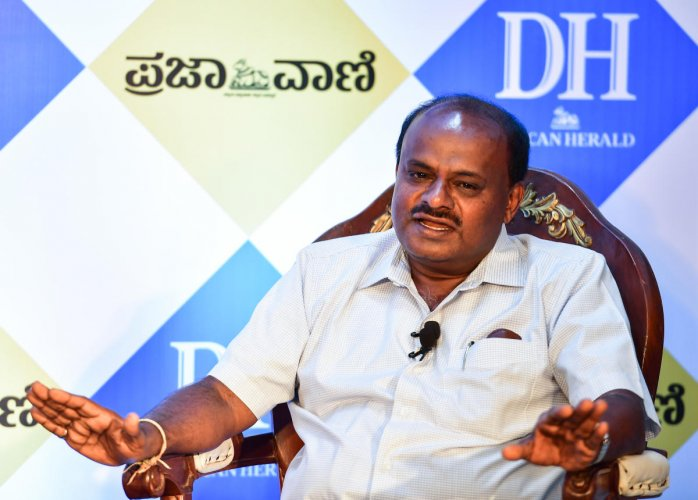 Kumaraswamy said that Nikhil was more of a politician than an actor. (DH Photo)