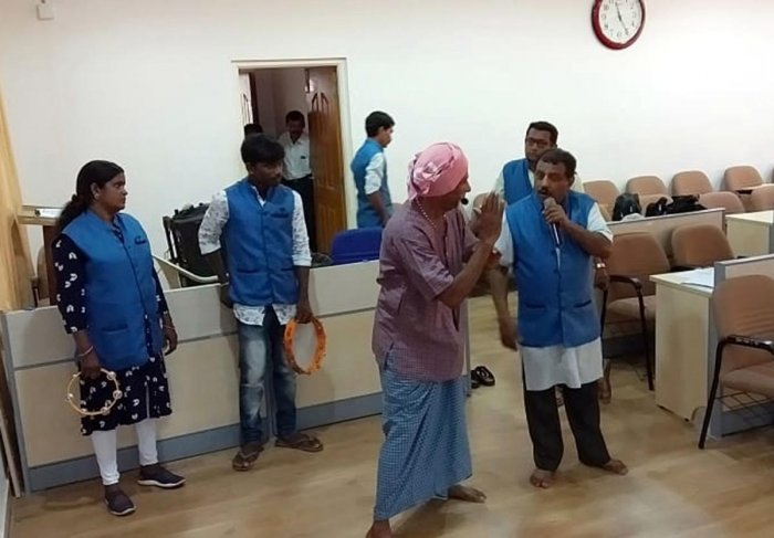 Artistes rehearse for a street play in Udupi.