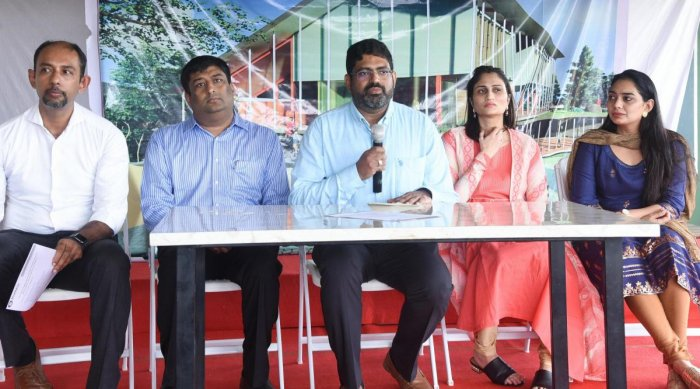 Ananth G Pai from Bharath Group speaks during a press conference at ELC-CFAL campus at Kuntikana in Mangaluru on Friday. Sudhir Pai of Bharat Group, Dr Vidya Pai, Shreya Pai and CFAL programme Coordinator Vijay Moras look on.