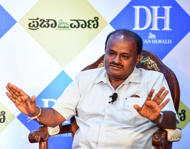 Chief Minister H D Kumaraswamy at an interaction with DH.