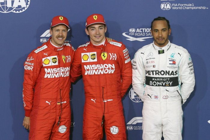 Ferrari's Charles Leclerc (centre) took pole for the Bahrain Grand Prix ahead of team-mate Sebastian Vettel (left) and Mercedes driver Lewis Hamilton. Picture credit: Reuters