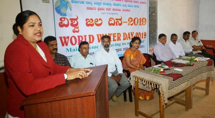 Senior civil judge Noorunnisa speaks during the World Water Day programme organised by the Karnataka State Pollution Control Board at the Government First Grade College in Madikeri on Friday.