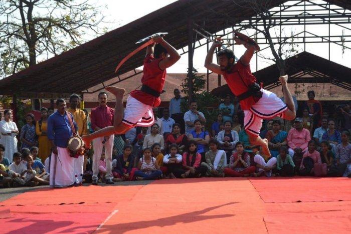 Artistes present Kalaripayattu at the craft mela organised by the Bharatiya Vidya Bhavan Kodagu Vidyalaya in Madikeri on Saturday.
