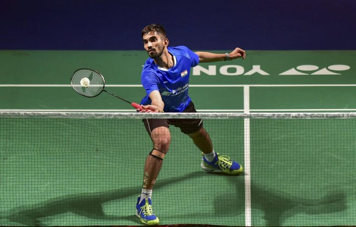 ON SONG: India's Srikanth Kidambi returns a shot to Huang Yuxiang of China during their semifinal match in New Delhi on Saturday. PTI