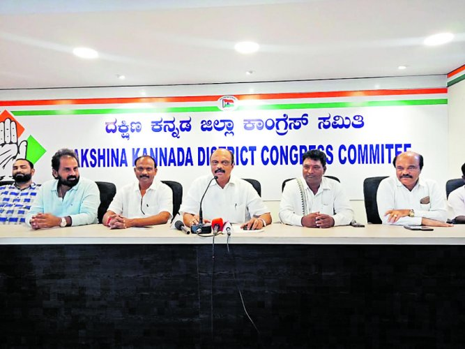 District Congress Committee President and MLC Harish Kumar addresses a press meet at the Congress office in Mangaluru on Saturday.