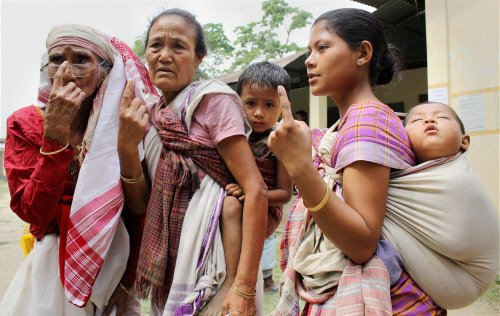80 per cent voting in Tripura, 72 per cent in Assam