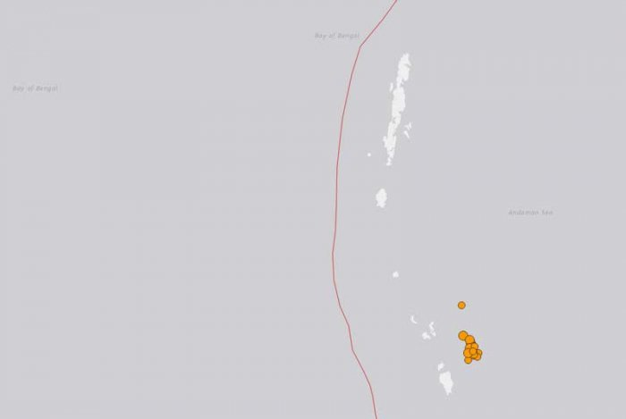 Nine medium intensity earthquakes, with a magnitude ranging from 4.7 to 5.2, hit the Andaman and Nicobar Islands on Monday morning, all in a span of two hours, according to the National Centre for Seismology. (Image: Screengrab from earthquake.usgs.gov)