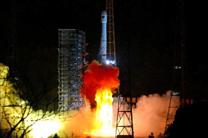 The Tianlian II-01 satellite was launched by a Long March-3B carrier rocket from the Xichang Satellite Launch Centre in southwest China's Sichuan Province Sunday night. (Reuters File Photo)