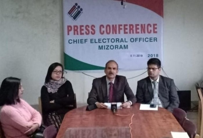 Chief electoral officer, Mizoram S B Shashank in Aizawl on Monday. Photo by Puia Chhangte