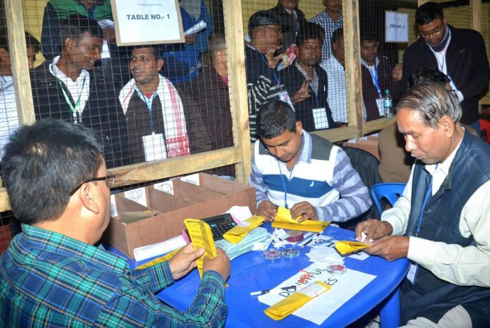 Counting of panchayat votes near Guwahati in Assam. (Photo by Manash Das)