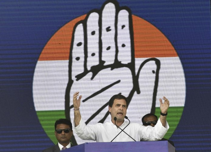Congress President Rahul Gandhi addresses 'Jan Akanksha Rally' at Gandhi Maidan, in Patna. (PTI Photo)