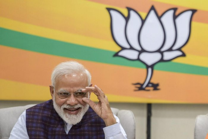 Prime Minister Narendra Modi during the BJP Central Election Committee (CEC) meeting for the upcoming Lok Sabha elections, at BJP headquarters in New Delhi. PTI