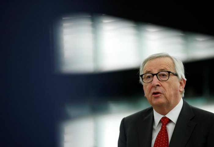 """Asked about the matter of a second referendum -- an option demanded by many of those who would prefer to remain in the EU -- Juncker said that """"it is something that concerns the British only"""". (Reuters Photo)"""