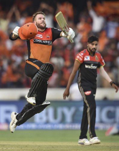 SRH batsman David Warner celebrates after reaching his century against Royal Challengers Bangalore in Hyderabad on Sunday. PTI