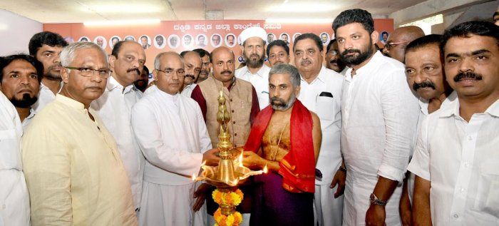 Religious priests inaugurate the Congress election office at Bendoorwell in Mangaluru on Sunday.