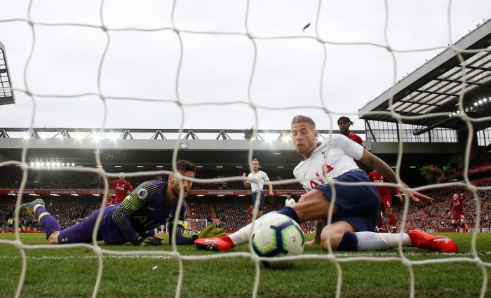 BLUNDER Tottenham's Toby Alderweireld scores an own goal to help Liverpool eke out a 2-1 win in their EPL match at Anfield on Sunday. Reuters