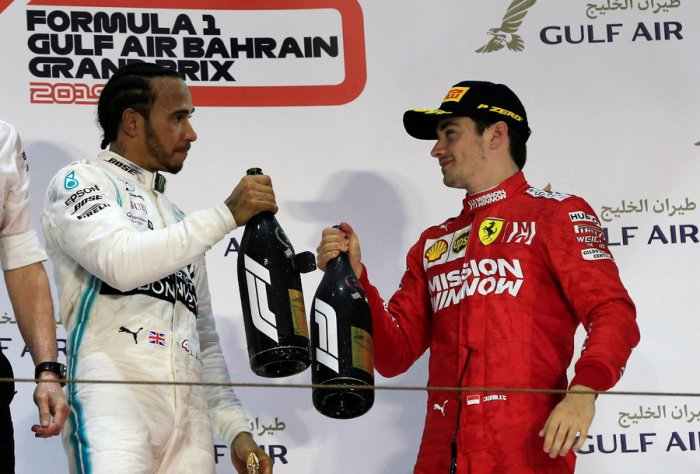 Ferrari's Charles Leclerc (right) is greeted by Mercedes driver Lewis Hamilton on the podium of the Bahrain Grand Prix on Sunday. Picture credit: Reuters