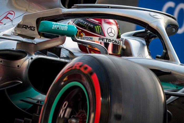 Lewis Hamilton in action in Bahrain. Picture credit: AFP