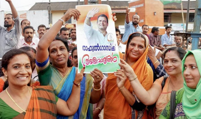 United Democratic Front (UDF) workers participate in a rally after Congress president Rahul Gandhi declared that he will contest from Wayanad Lok Sabha seat, in Wayanad, Monday, April 1, 2019. (PTI Photo)