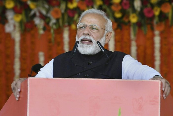 Modi accused the Congress of having neglected B R Ambedkar as no other party did. PTI File photo