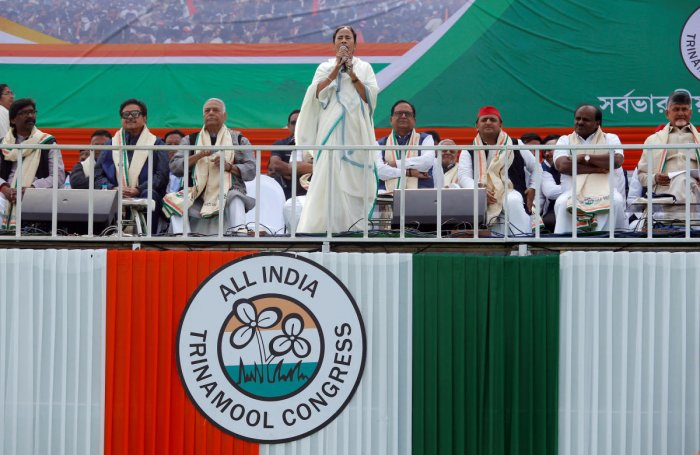 """Mamata Banerjee, Chief Minister of the state of West Bengal, speaks during """"United India"""" rally attended by the leaders of India's main opposition parties ahead of the general election, in Kolkata, India, January 19, 2019. REUTERS"""