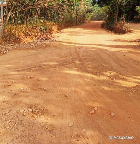 The pathetic condition of the road in Noojibalthila village.