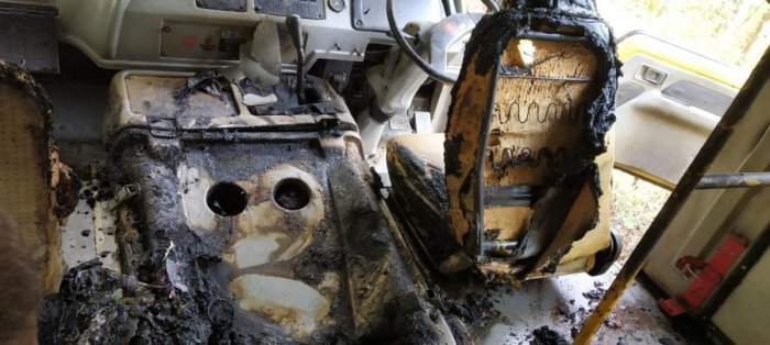 The charred interior of the school bus in Kalasa.