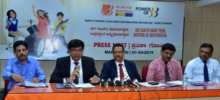 Bank of Baroda DGM Lalit Tyagi speaks to mediapersons in Mangaluru on Monday.