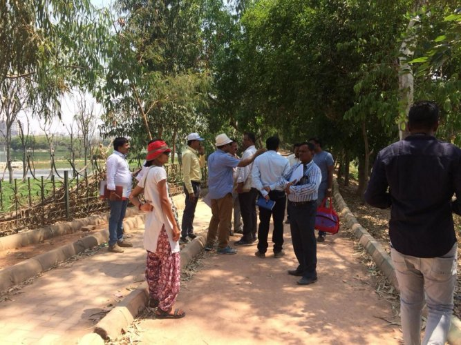 Officials of various government agencies inspected Kaikondrahalli Lake, Sarjapur Road, on Monday only to find water colour deteriorate and dead fish floating in the waterbody.