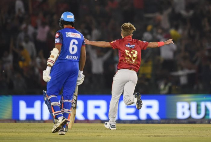Kings XI Punjab player Sam Curran celebrates his hat trick during the Indian Premier League 2019 (IPL T20) cricket match against Delhi Capitals (DC) at I.S Bindra Stadium in Mohali, Tuesday, April 2, 2019. PTI Photo